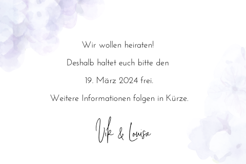 SAVE THE DATE VIOLETT BLUMEN