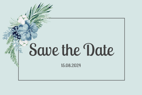 SAVE THE DATE KARTE BLAU MIT BLÜMEN
