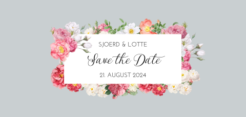 SAVE THE DATE VINTAGE GRAU MIT BLUMEN