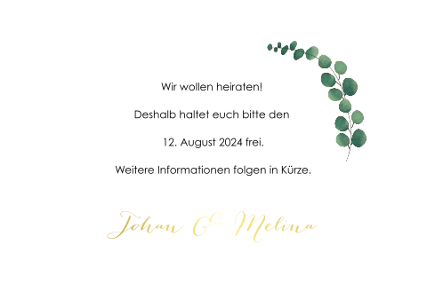 SAVE THE DATE EUKALYPTUS MIT GOLDFOLIE