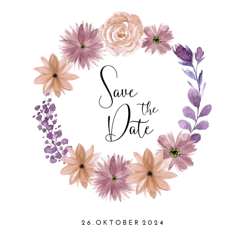 SAVE THE DATE KARTE FLOWER VIOLETT