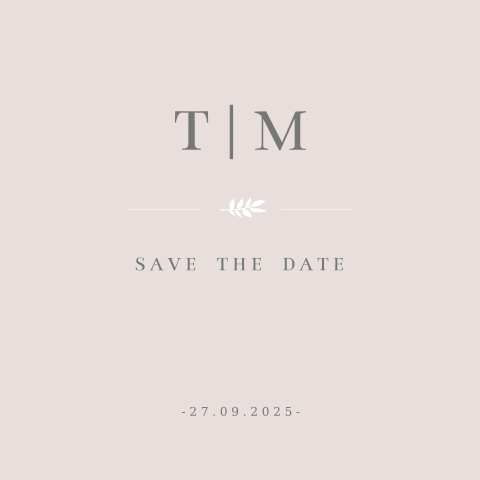 SAVE THE DATE ROSA MIT INITIALEN