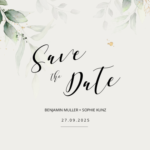SAVE THE DATE KARTE GREENERY EUKALYPTUS SQUARE