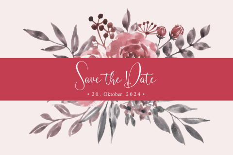 SAVE THE DATE KARTE FLORAL ROSA ROT