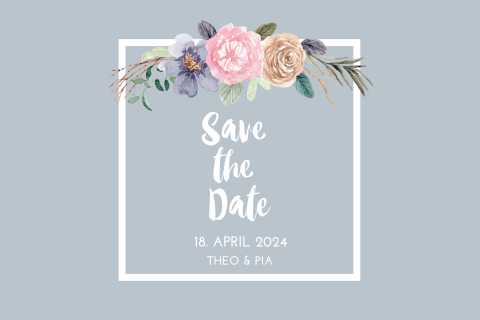 SAVE THE DATE GRAU MIT BLUMEN