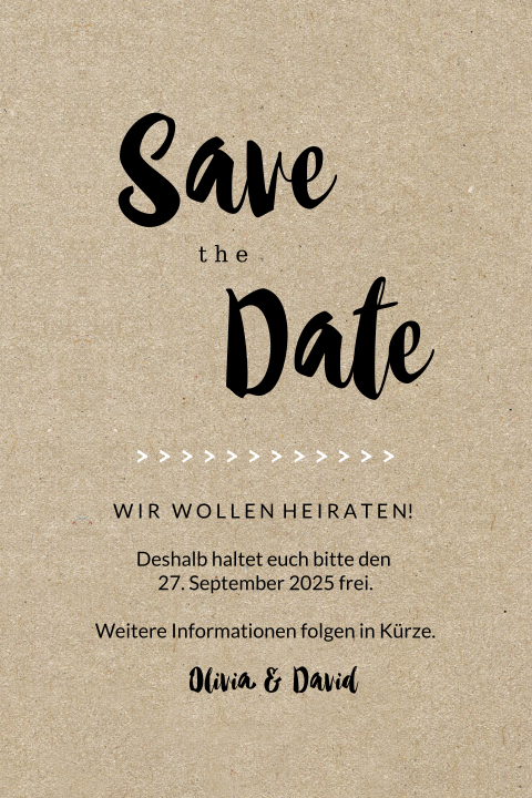 SAVE THE DATE MODERN MIT KRAFTPAPIER