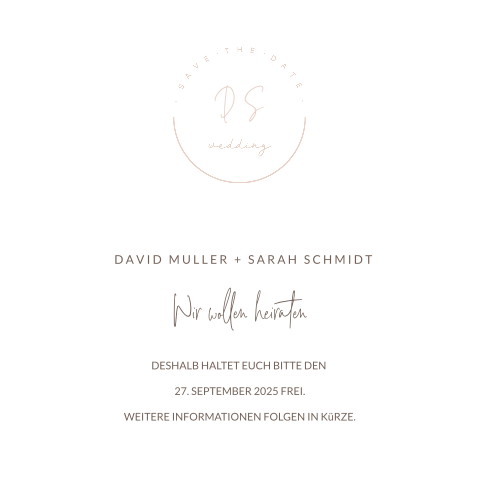 SAVE THE DATE MODERN ROSA MIT INITIALEN