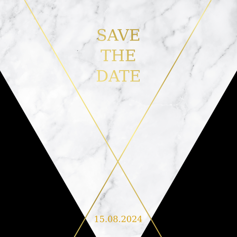 SAVE THE DATE KARTE MODERN MARMOR MIT GOLDFOLIE