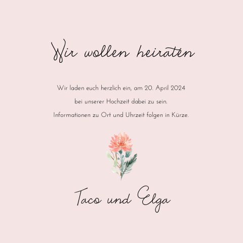 SAVE THE DATE ROMANTISCH FLOWER
