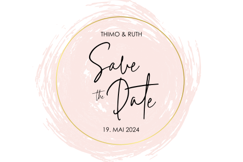 SAVE THE DATE ROSA AQUARELL MODERN MIT GOLDFOLIE