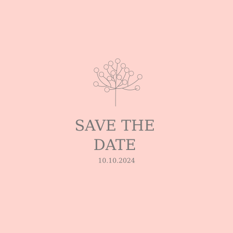 SAVE THE DATE ROSA MIT BLÄTTER