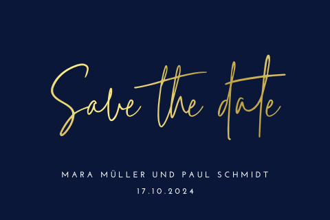 SAVE THE DATE KARTE SCHICK BLAU MIT GOLDFOLIE