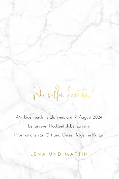 SAVE THE DATE MARMOR MIT GOLDFOLIE